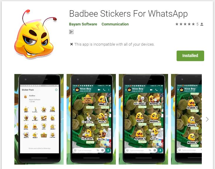 badbee stickers for whatsapp